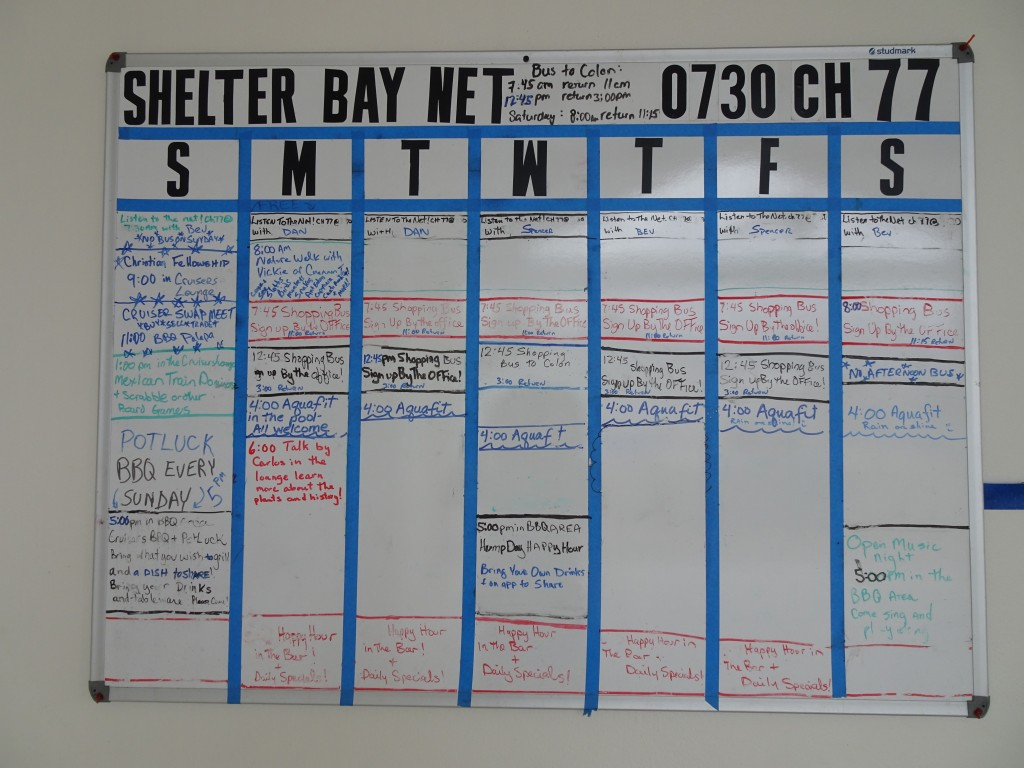 Shelter Bay Marina Activity Board